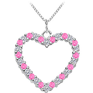 14K White Gold Heart Pendant With Diamond And Pink Sapphire -0.75 Ct