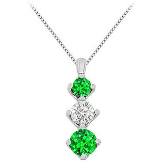1 Ct Emerald Pendant With White Cubic Zirconia In 14K White Gold 1.90 Ct