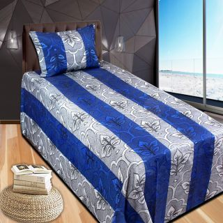 Super Cotton Blue Single Bed with Pillow Cover