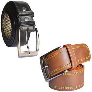 Sunshopping mens black and brown Leatherite needle pin point buckle belts (Combo)