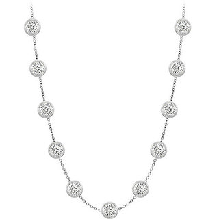 14K White Gold Station Necklace By The Yard Cz With Two Ct