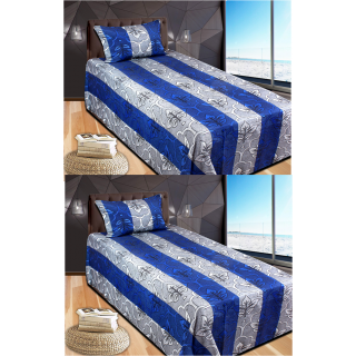 Super Cotton Blue 2 Single Bed sheet with Pillow cover