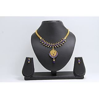 Diva Gold Plated Peacock Blue Necklace Set-407