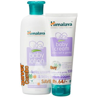 Himalaya Baby Lotion (200ml) and Cream (100g) Combo (ALMOND OIL, OLIVE OIL)
