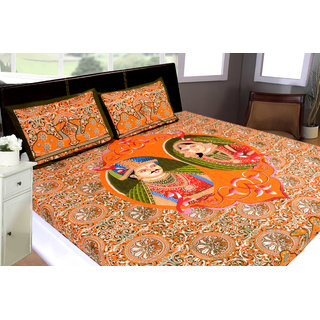 Akash Ganga Orange Cotton Double Bedsheet with 2 Pillow Covers (STGP21)