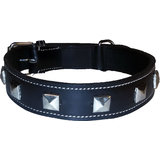 Petshop7 High Quality And Stylish Leather Dog Collar Black- 1.5 Inch-Xtra Large