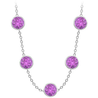 Amethyst By The Yard Necklace In 14K White Gold 75 Ct With 36 Inch Cable Chain