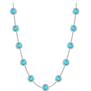 Bezel Set Blue Topaz Necklace In 14K White Gold Two Ct With Double Up Cable Chain