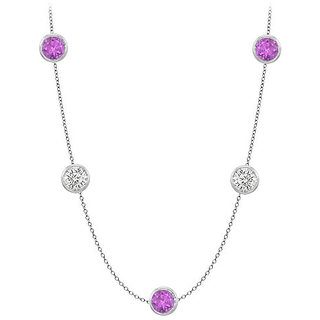 Amethyst & Cz Station Necklace In 14K White Gold 50 Ct With 36 Inch Long