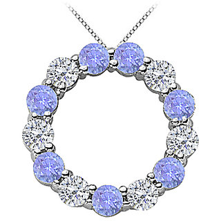 2 Ct Diamond And Tanzanite Eternity Circle Necklace In 14K White Gold