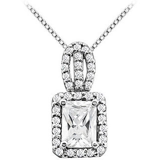 3 Ct Emerald Cut And Round Cz Pendant With 3.50 Ct In 14K White Gold