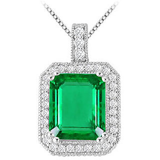 6 Ct Rectangular Frosted Emerald With Cubic Zirconia Pendant In 14K White Gold
