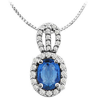 4 Ct Diffuse Sapphire Oval Pendant With Round Cz In 14K White Gold