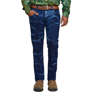 American Noti Navy Blue Crackel Faded Stretchable Slim fit Jeans