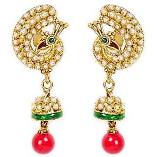 Shining Diva Vintage White, Red & Green Beaded Hanging Earrings