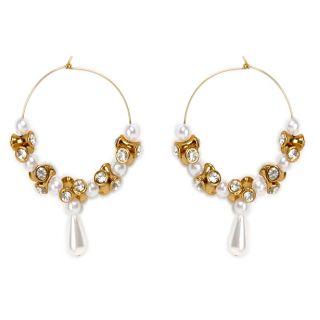Shining Diva Golden & White Drop Earrings