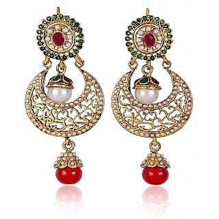 Shining Diva Elegant Green & Red Beaded Hanging Earrings