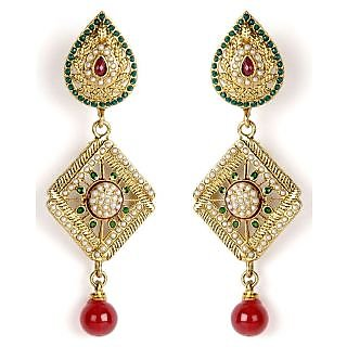 Shining Diva Diamond Shaped Beautifully Studded Hanging Earrings