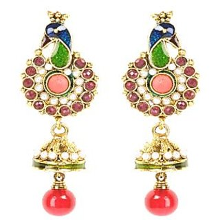 Shining Diva Peacock Designed Classic Multicoloured Hanging Earrings