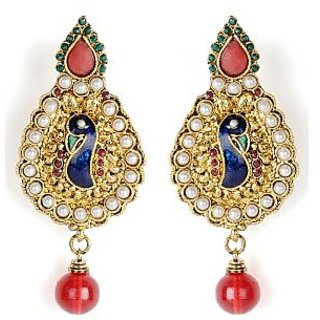 Shining Diva Peacock Embossed White Beaded Beautiful Hanging Earrings