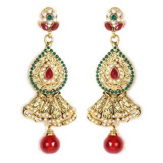 Shining Diva Designer Stone Studded Handcrafted Hanging Earrings