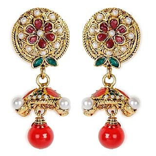 Shining Diva Flower in a Circle Bead Studded Hanging Earrings