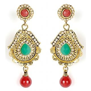 Shining Diva Traditional Red, Green & White Beaded Hanging Earrings