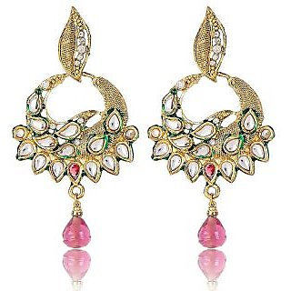 Shining Diva Kundan Studded Pretty Hanging Earrings
