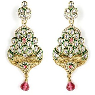 Shining Diva Mayur Inspired Kundan Studded Hanging Earrings
