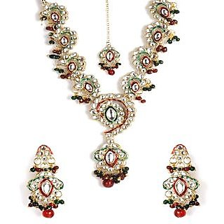Shining Diva Blossomy Kundan Stone Necklace Set With Maang-Tika