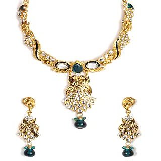 Shining Diva Kundan Stone & Green Bead Necklace Set