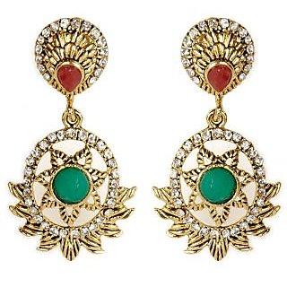 Shining Diva Hanging Star Designed Green & Red Earrings