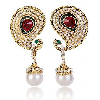 Shining Diva Beaded Paisely Designed Classic Hanging Earrings