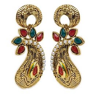 Shining Diva Decorated Paisley Earrings