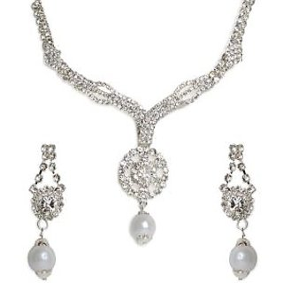 Shining Diva Circular Drop Necklace Set