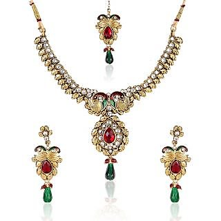Shining Diva Ornate Kundan Necklace Set With Maang Tika