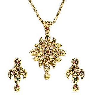 Shining Diva Golden Floral Pendant Set