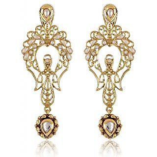 Shining Diva Golden Openwork Earrings