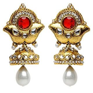 Shining Diva Pearl Drop Festive Earrings