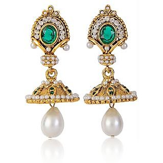 Shining Diva Pearl Drop Long Earrings