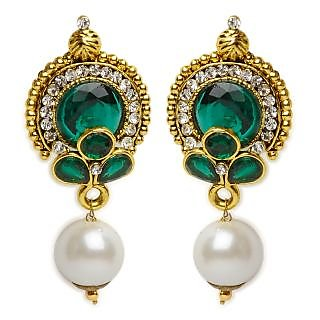 Shining Diva Green & White Earrings