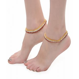 Shining Diva Pretty Red Pair of Anklet