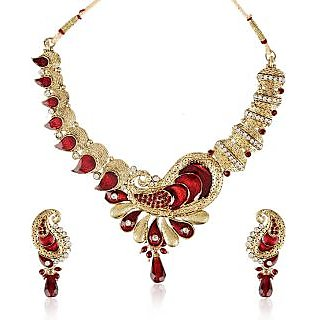 Shining Diva Paisley Designed Kundan Studded Necklace & Set