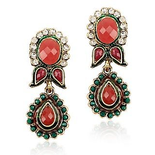 Shining Diva Traditional Floral Hanging Earrings