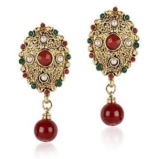 Shining Diva Oval Golden Coloured Hanging Earrings