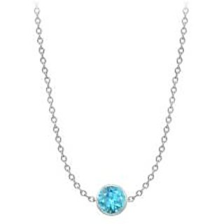 By The Yard Necklace With Blue Topaz In 14K White Gold One Ct