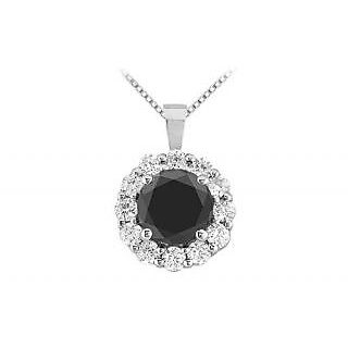 Pretty Black & White Diamond Circle Pendant 14K White Gold-1.50 Ct Diamonds