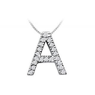 Classic A Initial Diamond Pendant 14K White Gold-0.30 Ct Diamonds