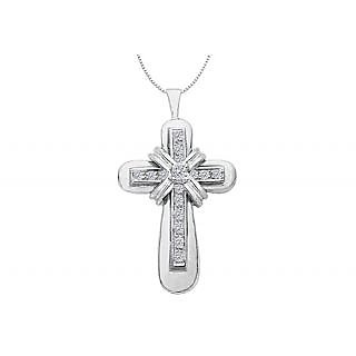 Cross Pendant Necklace With Center Wrap In 14K White Gold Of 0.25 Ct Diamonds