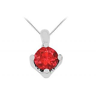 Big Gf Bangkok Ruby Solitaire Pendant In 14K White Gold 1 Ct Stone Gem Weight